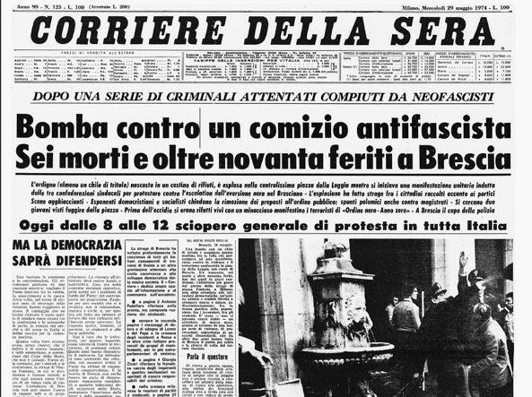 La strage di piazza loggia raccontata dal corriere del 29 for Corriere della sera arredamento